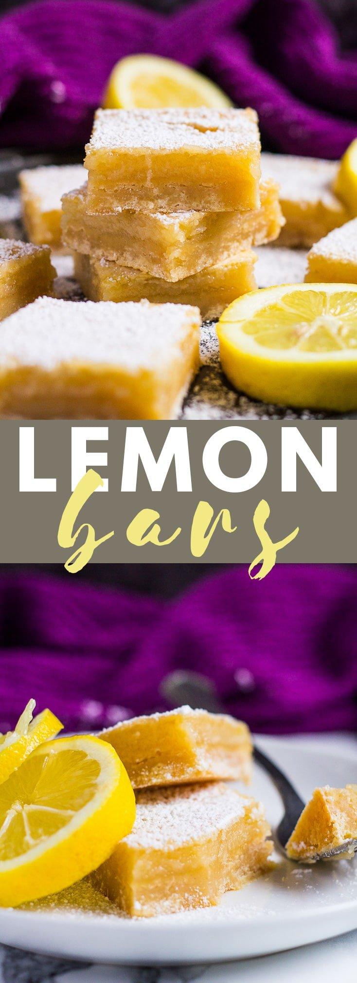 Lemon Bars- A deliciously crispy, buttery shortbread crust topped with a creamy, sweet and tangy lemon filling! #lemonbars #lemonrecipes #summerrecipes