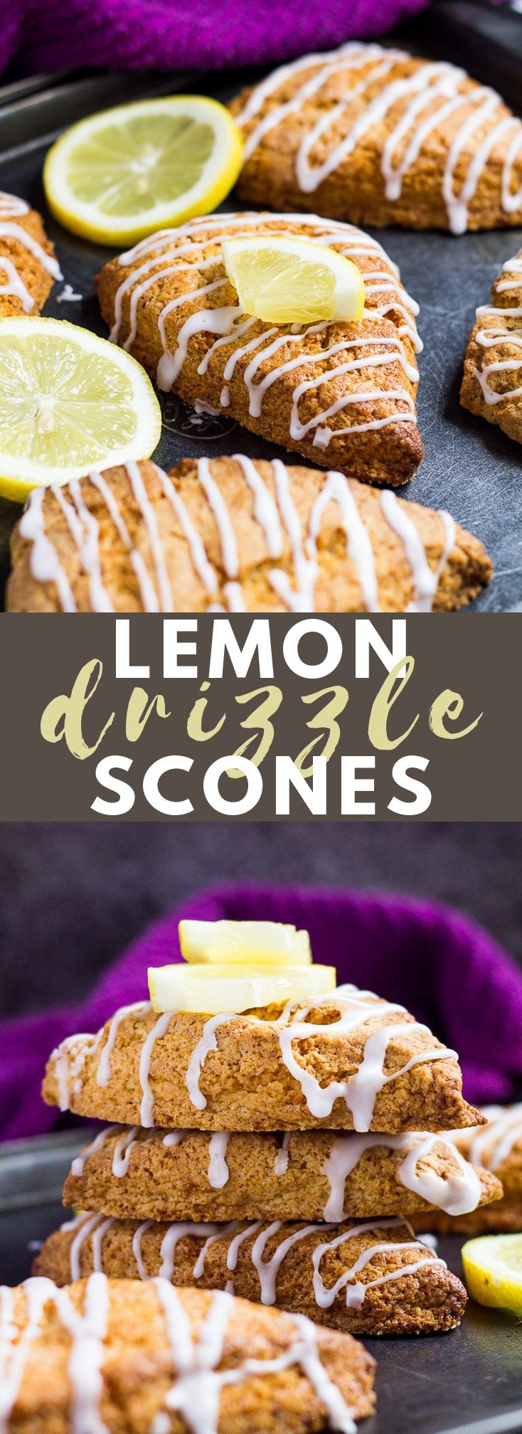 Lemon Drizzle Scones - These scones are deliciously soft and fluffy on the inside and crispy on the outside, infused with lemon and drizzled with a sweet lemon glaze! #lemon #scones #bread #recipe