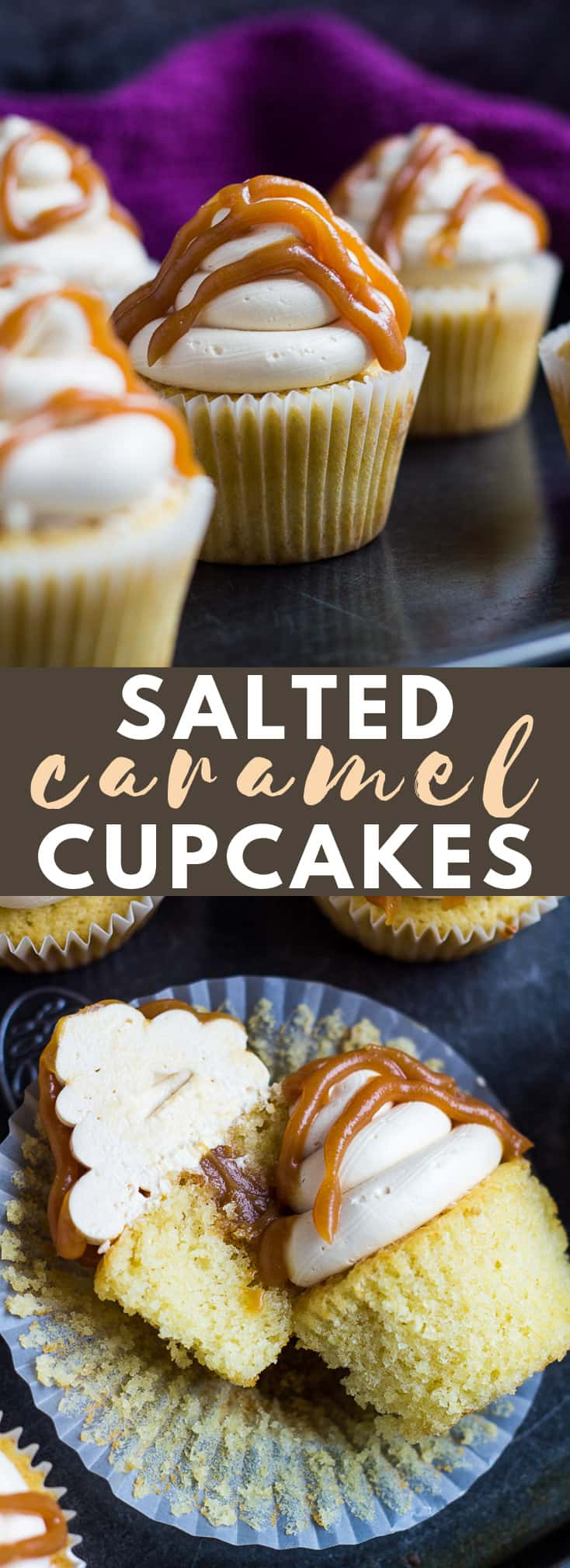 Salted Caramel Cupcakes - Deliciously moist and fluffy vanilla cupcakes topped with a silky cloud of Swiss meringue caramel buttercream, and filled and drizzled with salted caramel! #saltedcaramel #cupcakes #cupcakerecipes