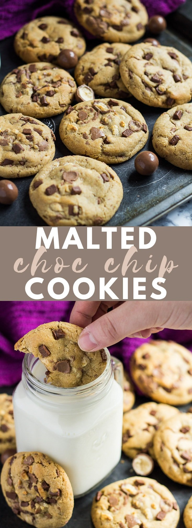 Malted Chocolate Chip Cookies - Deliciously thick, soft-baked cookies infused with malted milk powder, and loaded with Maltesers and chocolate chips! #malted #chocolatechipcookies #cookierecipes