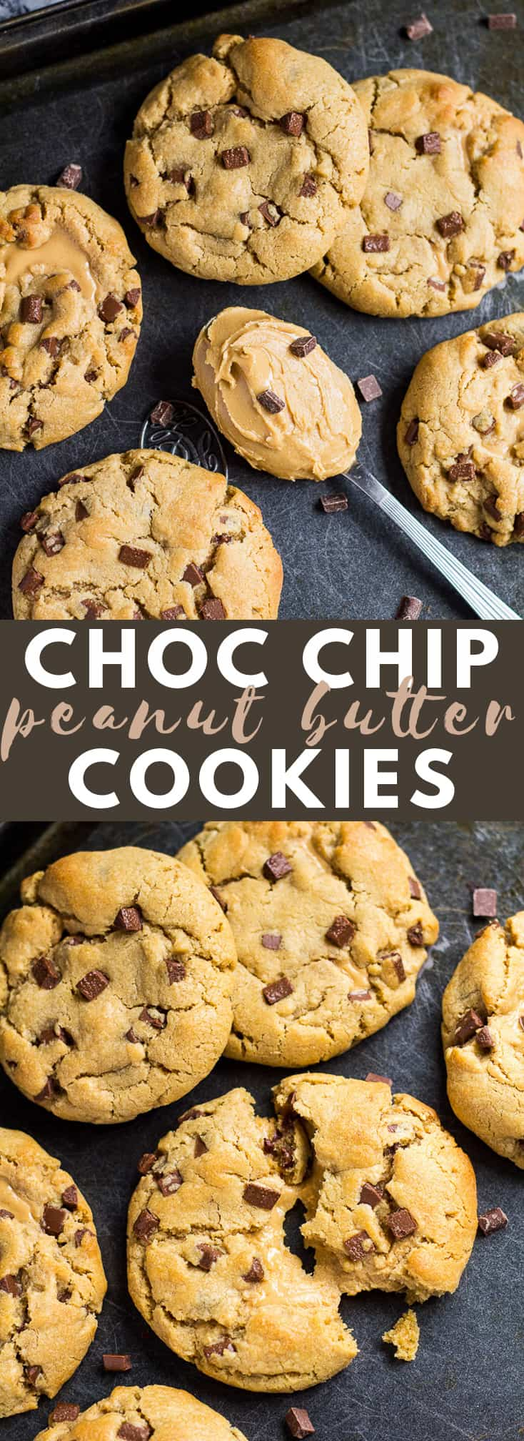 Chocolate Chip Peanut Butter Cookies - Deliciously thick and chewy cookies that are loaded with peanut butter flavour, and full of chocolate chips! #peanutbutter #cookies #cookierecipes