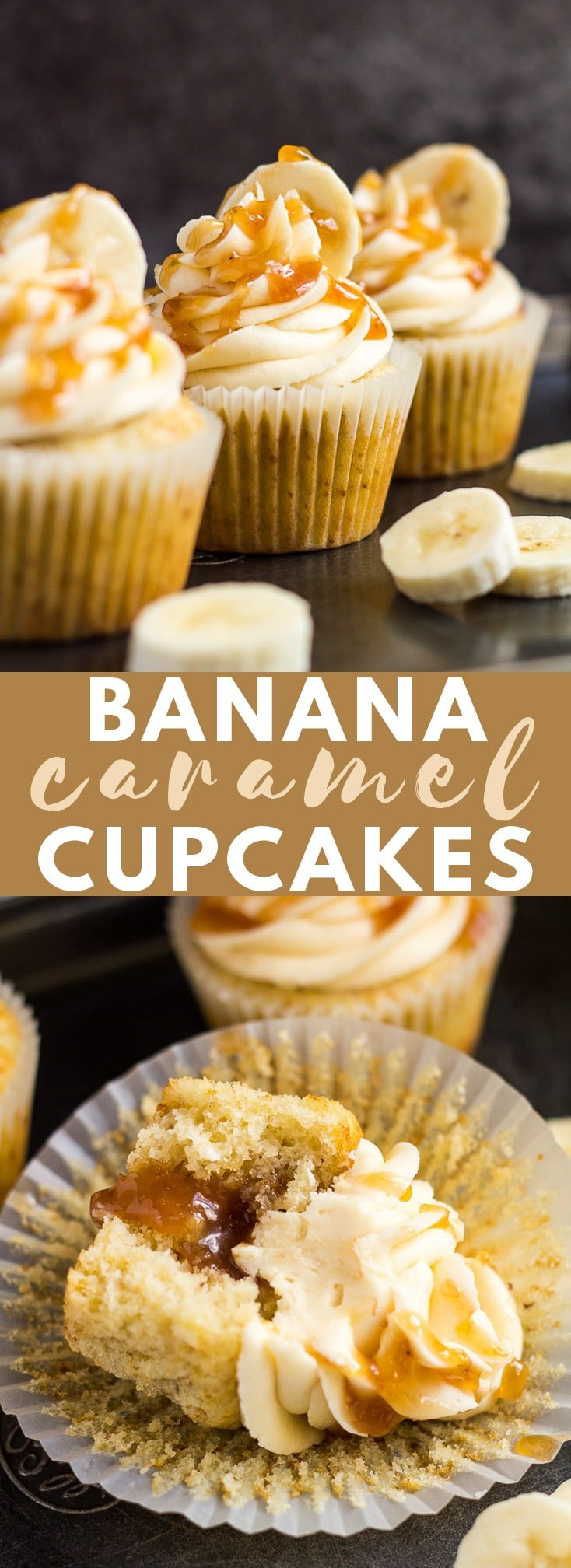 Banana Caramel Cupcakes - Deliciously moist and fluffy banana cupcakes, filled with homemade banana caramel, and topped with a sweet banana caramel frosting! #banana #caramel #cupcakes #cupcakerecipes