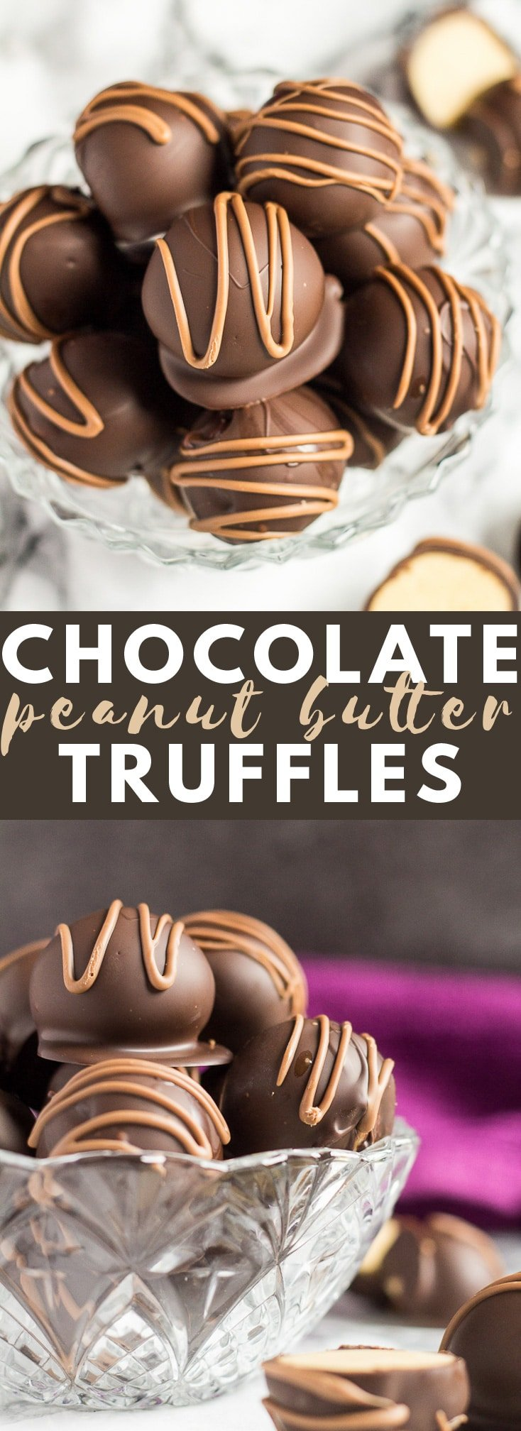 No-Bake Peanut Butter Truffles- Deliciously creamy bite-sized peanut butter balls, coated with dark chocolate, and drizzled with milk chocolate! #chocolate #peanutbutter #truffles #recipe