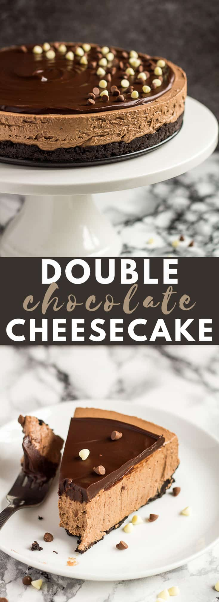 No-Bake Double Chocolate Cheesecake- Deliciously creamy NO-BAKE chocolate cheesecake with an Oreo crust, and topped with chocolate ganache! #chocolate #cheesecake #nobake #cheesecakerecipes