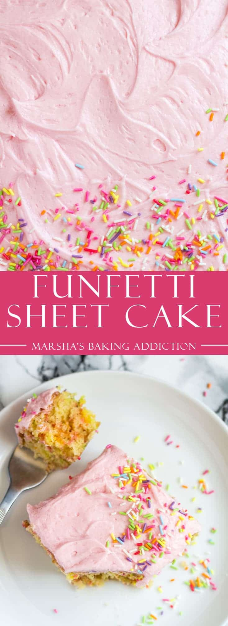 Funfetti Sheet Cake - Deliciously moist and fluffy vanilla sheet cake, loaded with sprinkles, and topped with a creamy vanilla buttercream frosting!