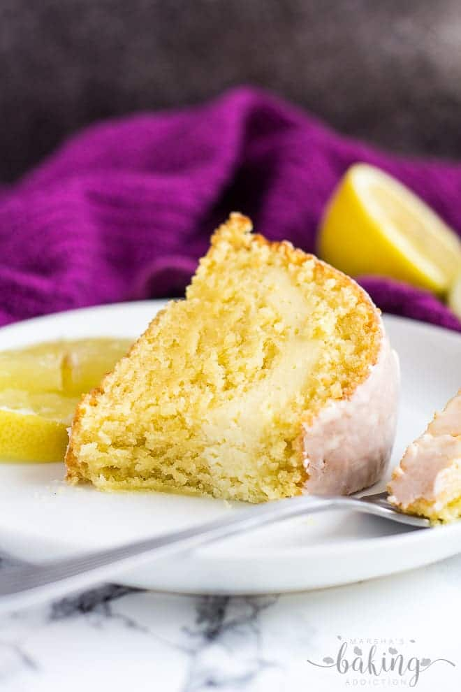 Cheesecake Swirl Lemon Bundt Cake | marshasbakingaddiction.com @marshasbakeblog