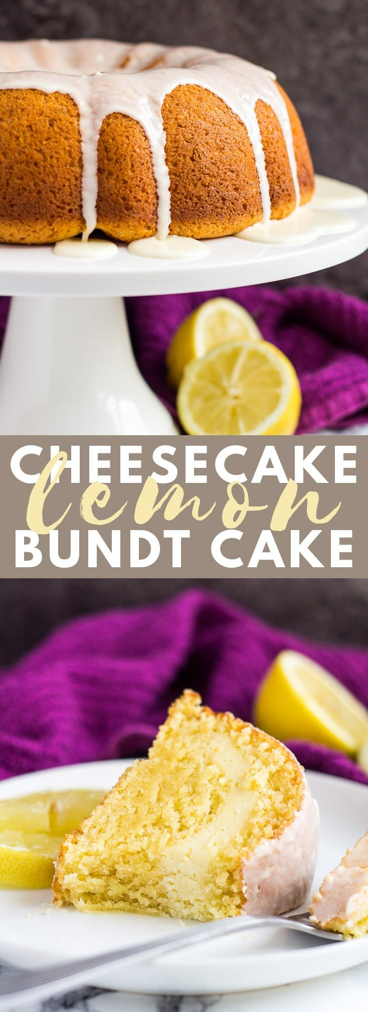 Cheesecake Swirl Lemon Bundt Cake - Deliciously moist and fluffy lemon-infused bundt cake, filled with a cheesecake swirl, and drizzled with a lemon glaze! #cheesecake #lemon #bundtcake #cakerecipes