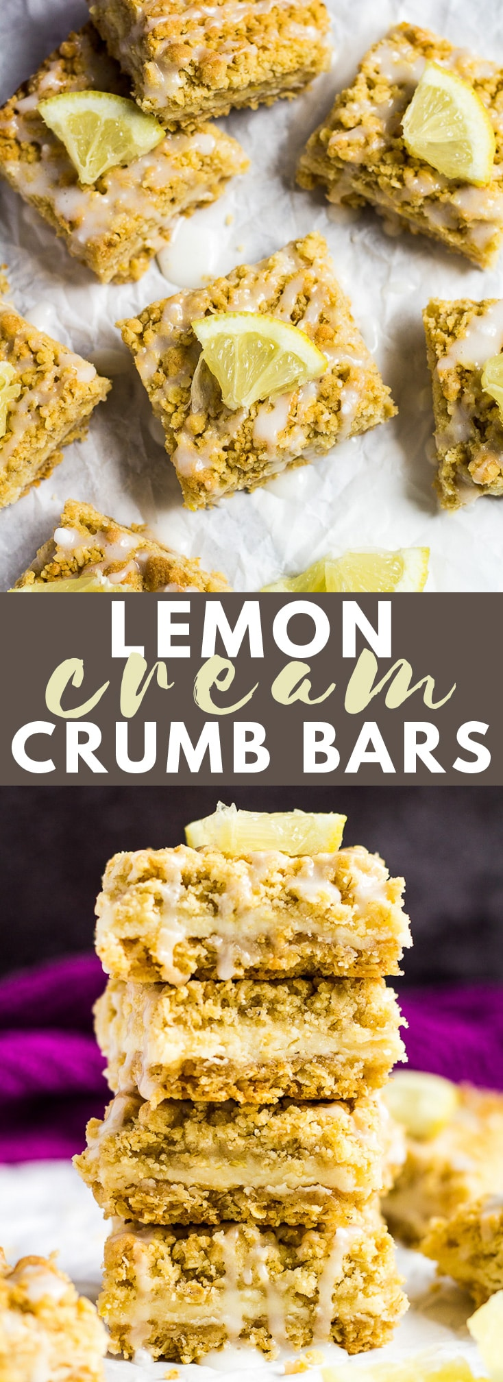 Lemon Cream Crumb Bars - Deliciously buttery crumb bars stuffed with a zesty lemon cream filling, and drizzled with a sweet glaze! #lemon #crumbbars #recipe