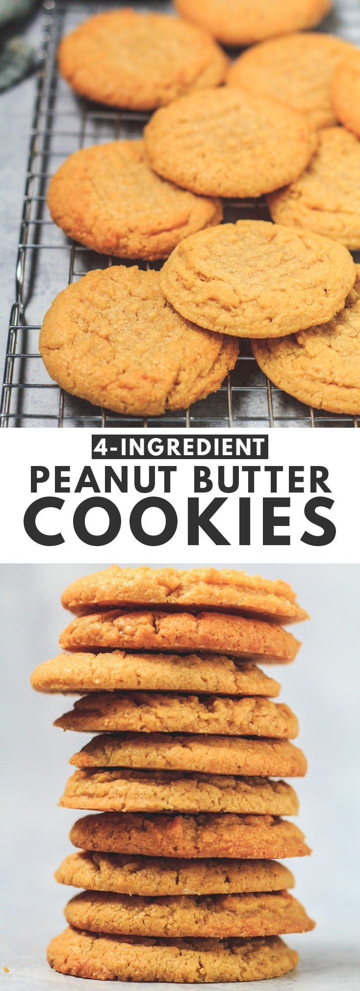 4 Ingredient Peanut Butter Cookies - Deliciously soft, thick, and chewy peanut butter cookies that are loaded with flavour, and are only made from four simple ingredients! #peanutbutter #cookies #recipe