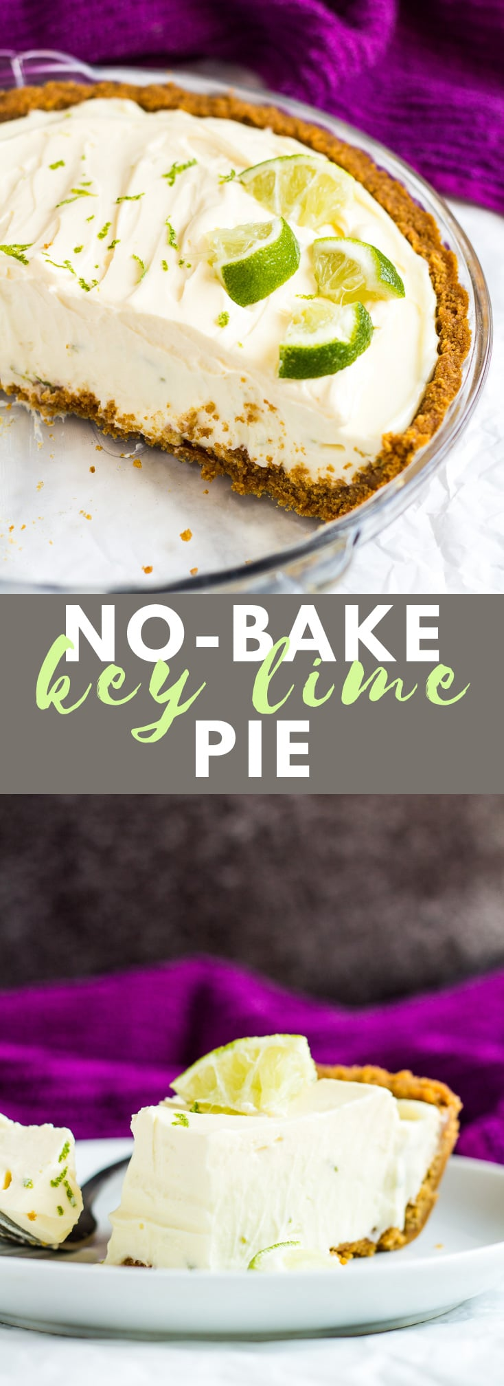 No-Bake Key Lime Pie - A deliciously creamy key lime pie with a crunchy ginger crust is a match made in heaven. Top with fresh whipped cream and lime slices for the ultimate refreshing Summer dessert! #nobake #keylimepie #pierecipes