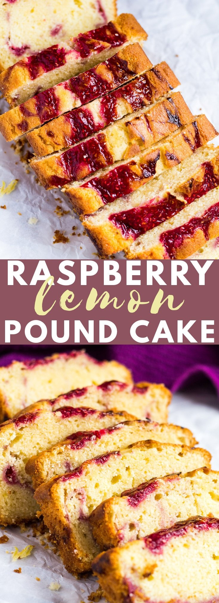 Raspberry Swirl Lemon Pound Cake - Incredibly moist and fluffy lemon-infused pound cake swirled with a fresh raspberry sauce! #raspberry #lemon #poundcake #cakerecipes