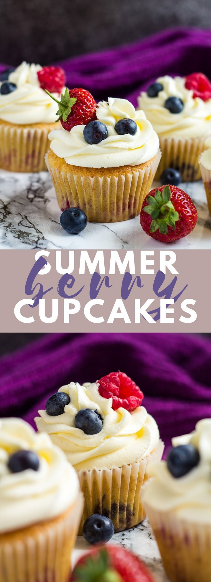 Summer Berry Cupcakes- Deliciously moist and fluffy vanilla cupcakes stuffed with summer berries, and topped with a sweet buttercream frosting! #cupcakes #cupcakerecipes #summerrecipes