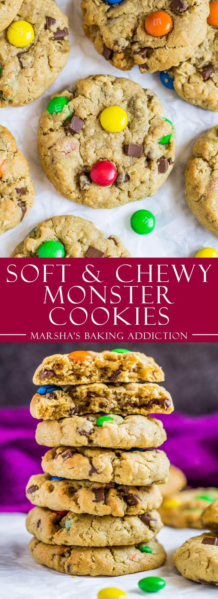 Soft and Chewy Monster Cookies | marshasbakingaddiction.com @marshasbakeblog