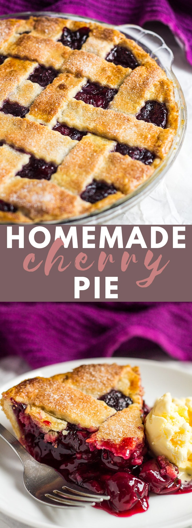 Homemade Cherry Pie - Deliciously sweet cherry pie made with a flaky, all-butter crust, and a homemade cherry filling! #homemade #cherrypie #pierecipes