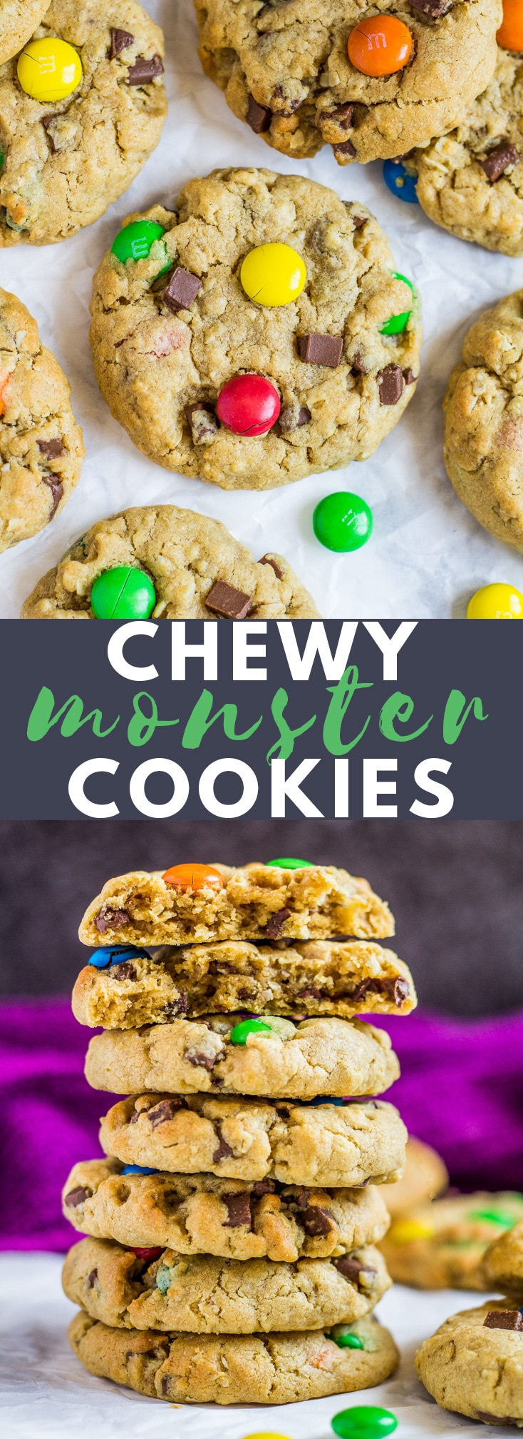 Soft and Chewy Monster Cookies- Deliciously thick, soft and chewy peanut butter cookies stuffed full of oats, M&Ms, and chocolate chips! #peanutbutter #monstercookies #cookierecipes