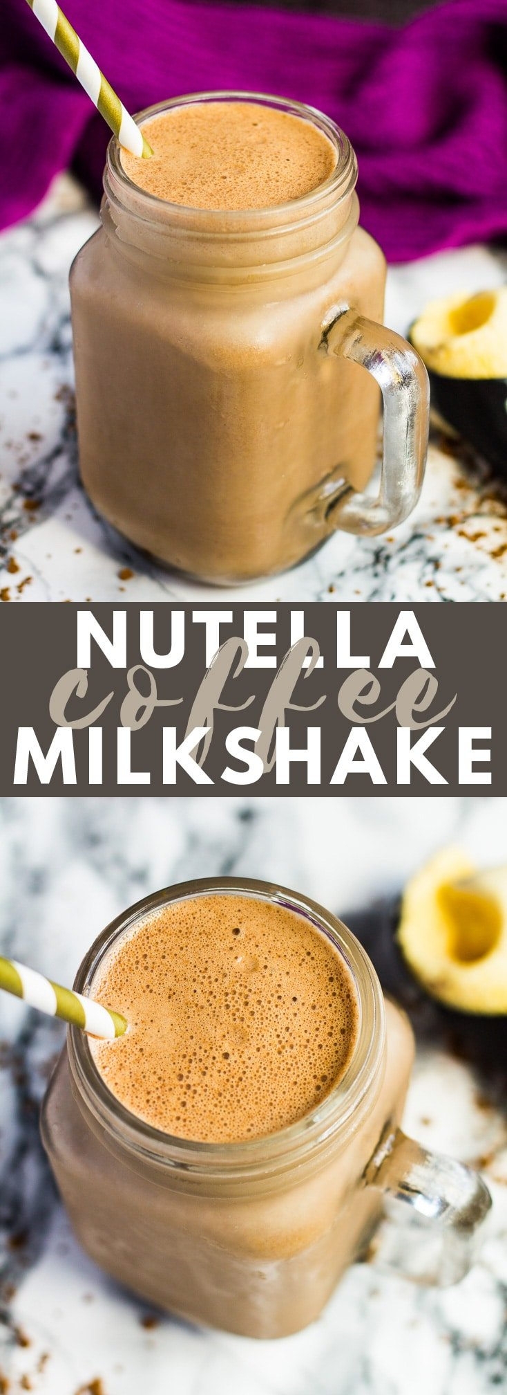 Nutella Coffee Milkshake - Deliciously creamy Nutella milkshake that is infused with coffee, and only requires 4 simple ingredients to make! #nutella #coffee #milkshake