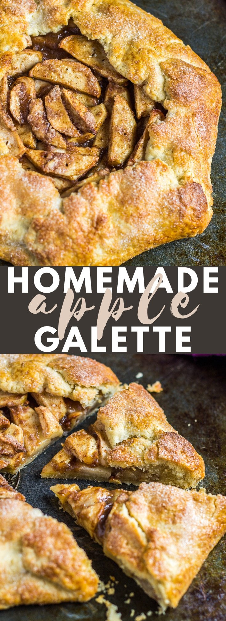 Homemade Apple Galette- A deliciously flaky, buttery pie crust filled with warm, spiced, tender apple slices. The ultimate comforting dessert! #homemade #apple #galette #recipe
