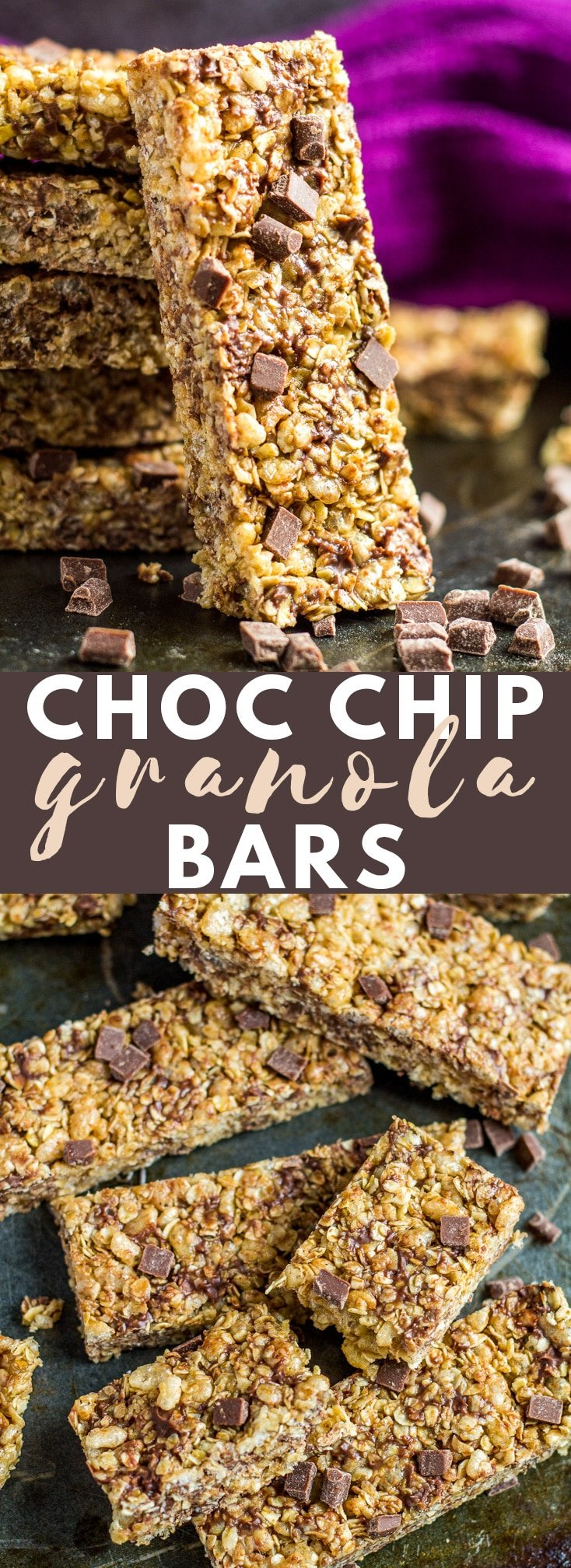 No-Bake Chocolate Chip Granola Bars- These deliciously chewy NO-BAKE bars are stuffed full of chocolate chips and spiced with a hint of cinnamon! #chocolatechip #granolabars #recipe