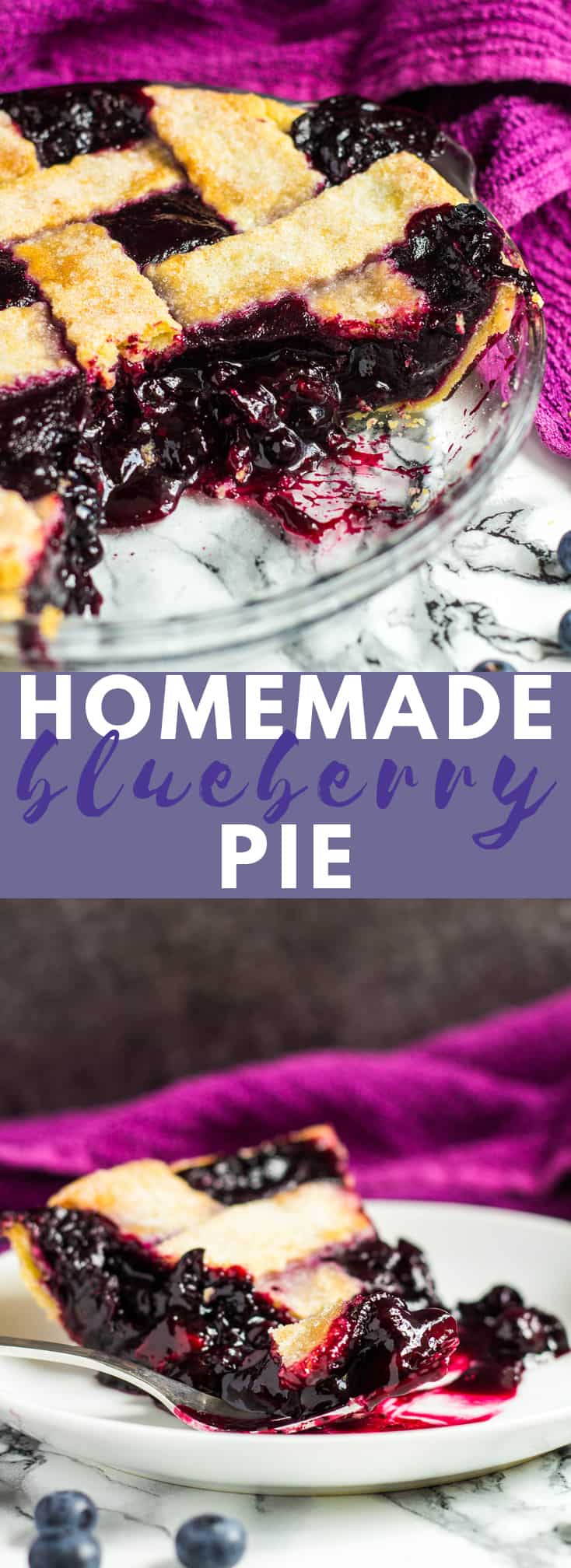Homemade Blueberry Pie- A deliciously flaky, all-butter pie crust filled with a sweet, homemade blueberry filling! #homemade #blueberrypie #recipe