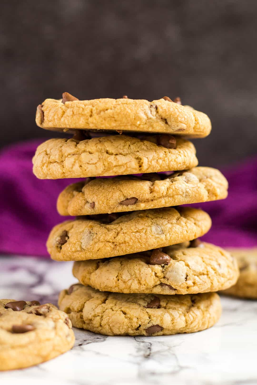 A stack of chocolate chip Biscoff cookies.