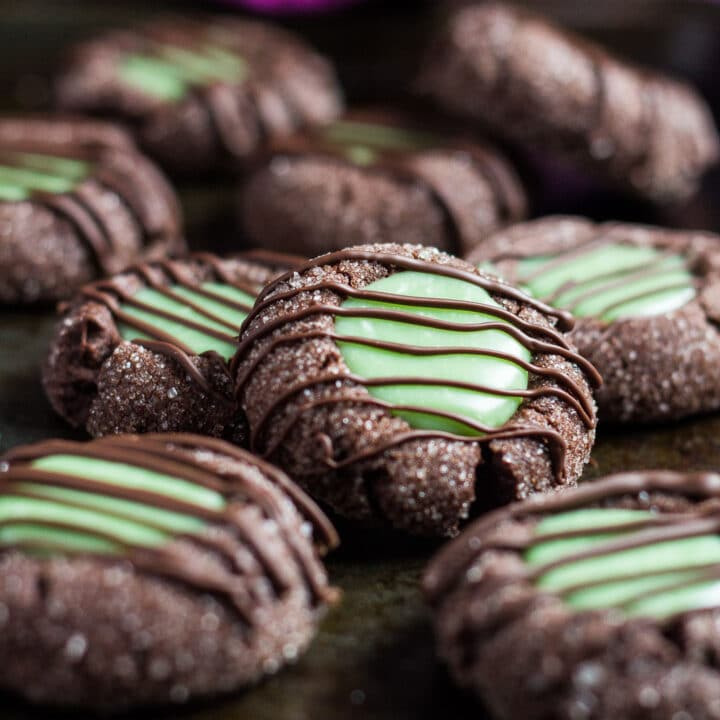 Mint Chocolate Thumbprint Cookies