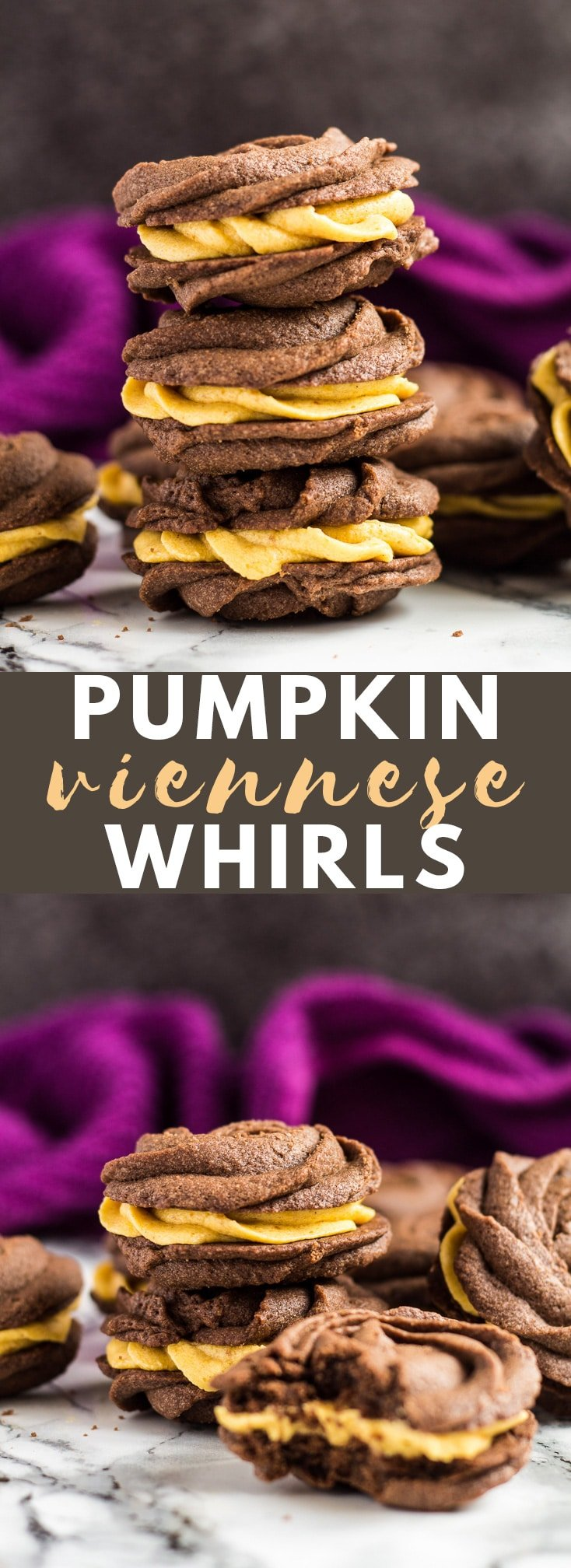Chocolate Pumpkin Viennese Whirls - Deliciously buttery, melt-in-your-mouth chocolate biscuits filled with a perfectly spiced pumpkin buttercream! #chocolate #pumpkin #cookies #viennesewhirls