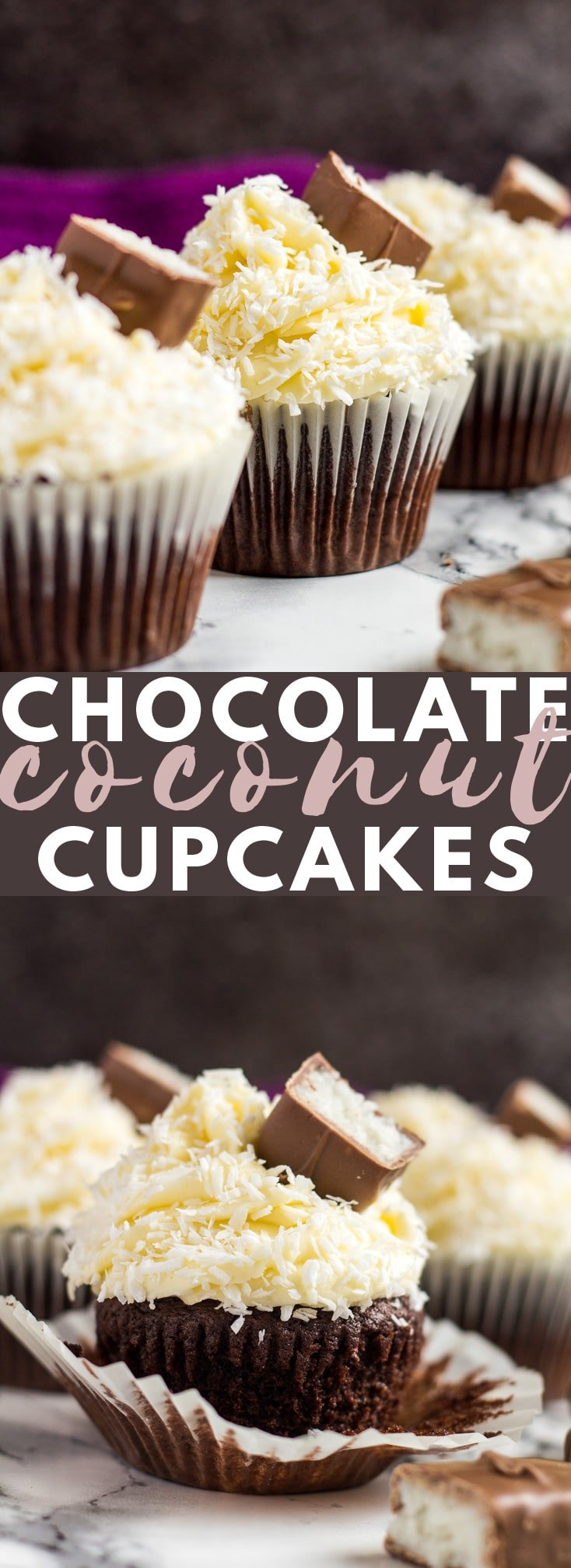 Chocolate Coconut Cupcakes - Deliciously moist and fluffy chocolate cupcakes topped with a creamy coconut-infused buttercream frosting, and coated with desiccated coconut! #chocolatecupcakes #coconut #cupcakerecipes
