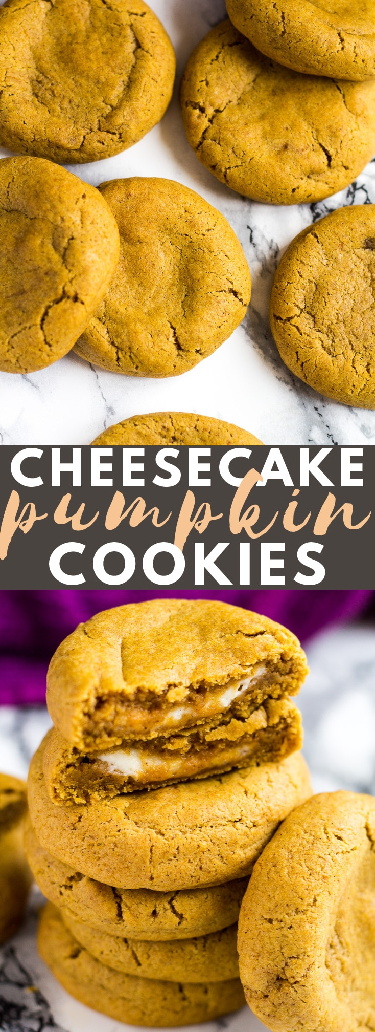 Cheesecake Stuffed Pumpkin Cookies - Deliciously soft and chewy pumpkin cookies that are perfectly spiced, and stuffed with a cheesecake layer! #cheesecake #pumpkin #cookies #cookierecipes