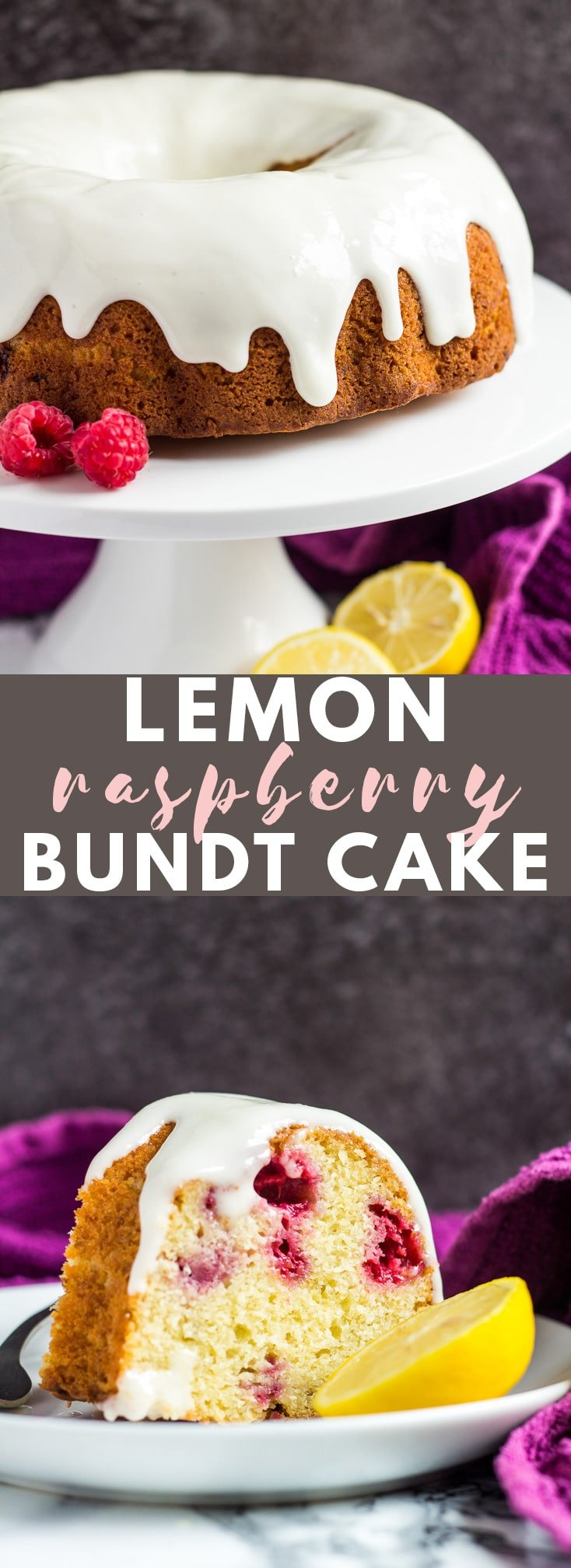 Lemon Raspberry Bundt Cake - Deliciously moist and fluffy lemon-infused bundt cake stuffed with fresh raspberries, and drizzled with a lemon cream cheese glaze!