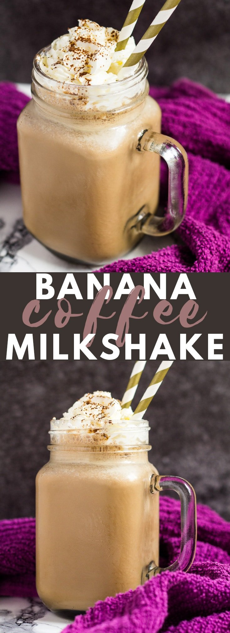 Banana Coffee Milkshake- Wonderfully creamy banana milkshake that is infused with coffee. An indulgent drink for coffee lovers! #banana #coffee #milkshake #recipe