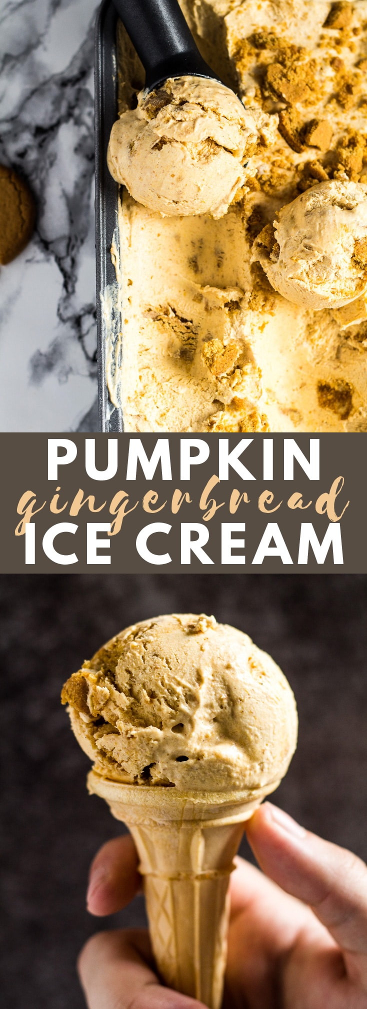 No-Churn Pumpkin Gingerbread Ice Cream - Deliciously creamy no-churn pumpkin ice cream that is perfectly spiced, and stuffed with ginger biscuits! #pumpkin #gingerbread #icecream #recipe