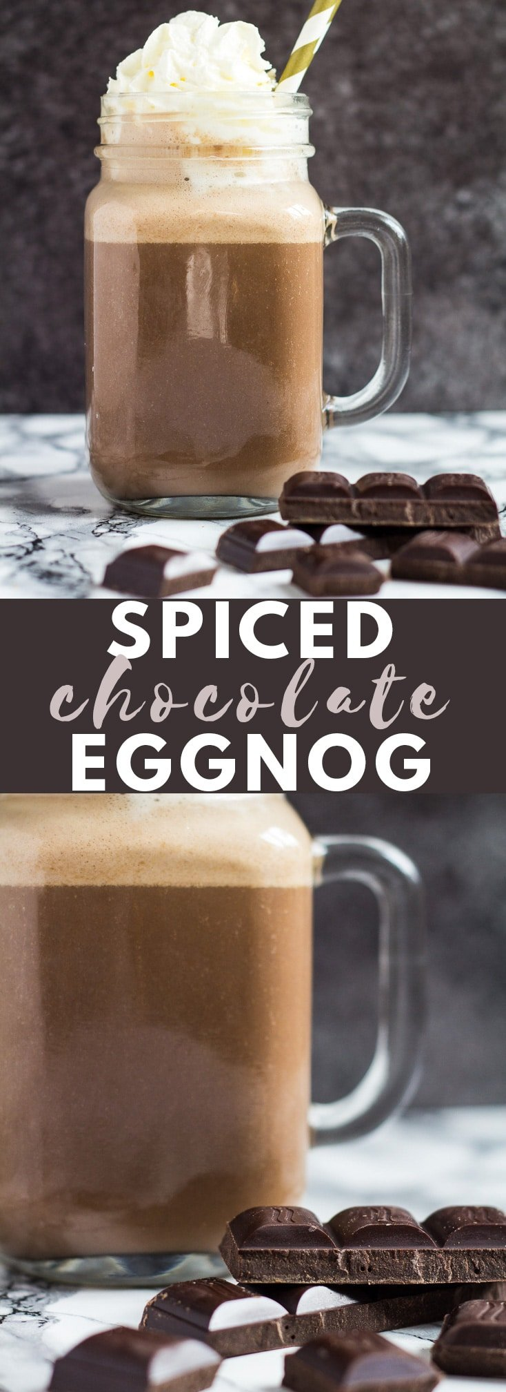 Spiced Chocolate Eggnog - Deliciously thick and creamy, perfectly spiced homemade eggnog that is loaded with chocolate flavour!
