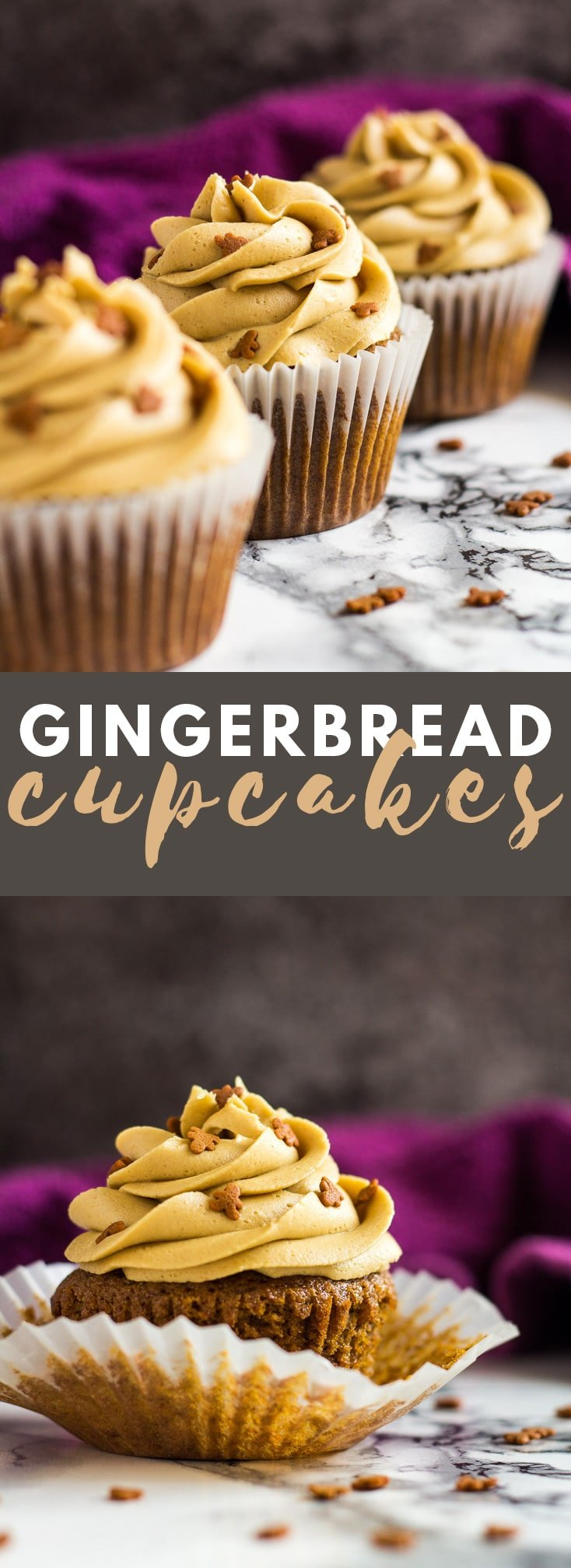 Gingerbread Cupcakes- Deliciously moist and fluffy gingerbread cupcakes that are loaded with flavour, and topped with a ginger buttercream frosting! #gingerbread #cupcakes #cupcakerecipes #christmasrecipes