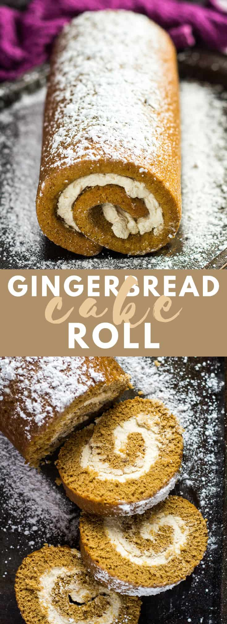 Gingerbread Cake Roll- Deliciously moist and fluffy gingerbread cake roll that is loaded with warm, cozy flavours, and filled with spiced whipped cream! #gingerbread #cakeroll #swissroll #cakerecipes #christmasrecipes