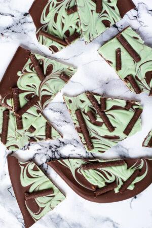 Overhead shot of mint chocolate bark broken into pieces.