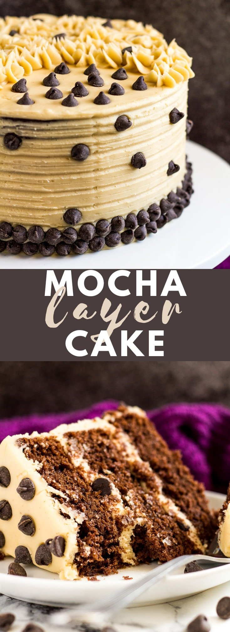 Mocha Layer Cake - Incredibly moist and fluffy chocolate layer cake infused with coffee, and frosted with a sweet coffee flavoured buttercream! #chocolate #mocha #cake #cakerecipes