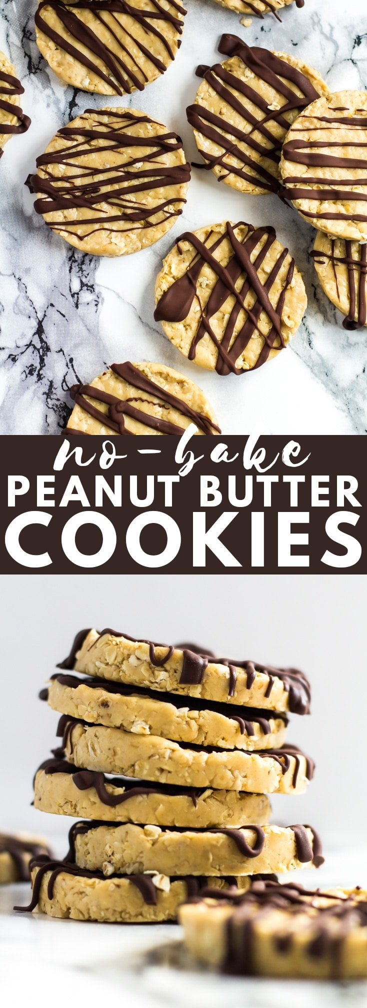 A Pinterest image of No-Bake Peanut Butter Cookies with text overlay.