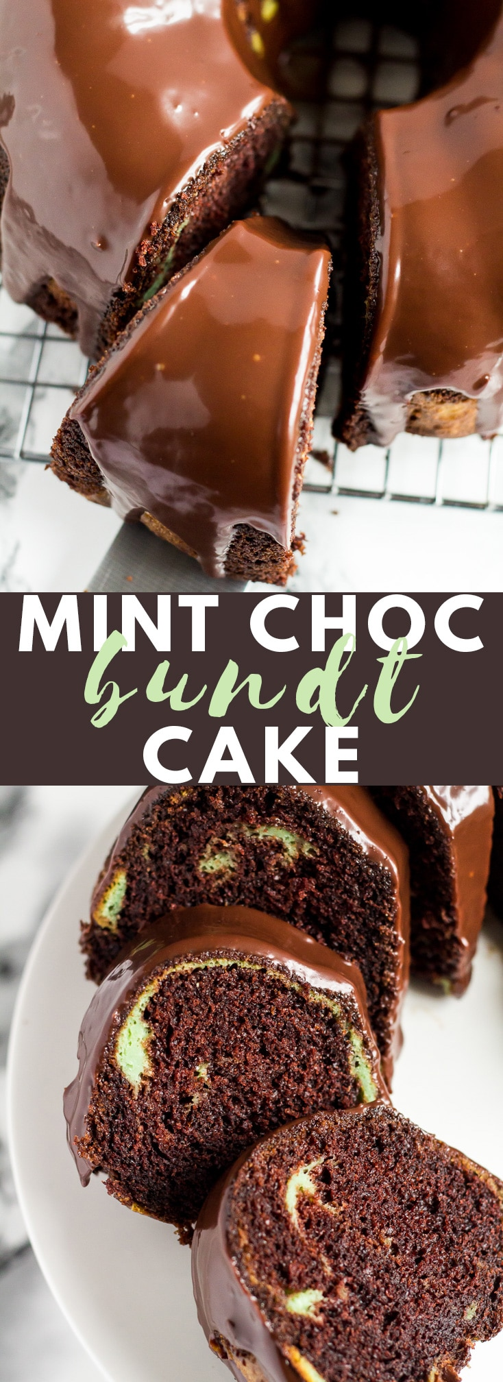 Mint Chocolate Bundt Cake - Deliciously moist and fluffy chocolate bundt cake infused with mint, and drizzled with a creamy chocolate ganache!