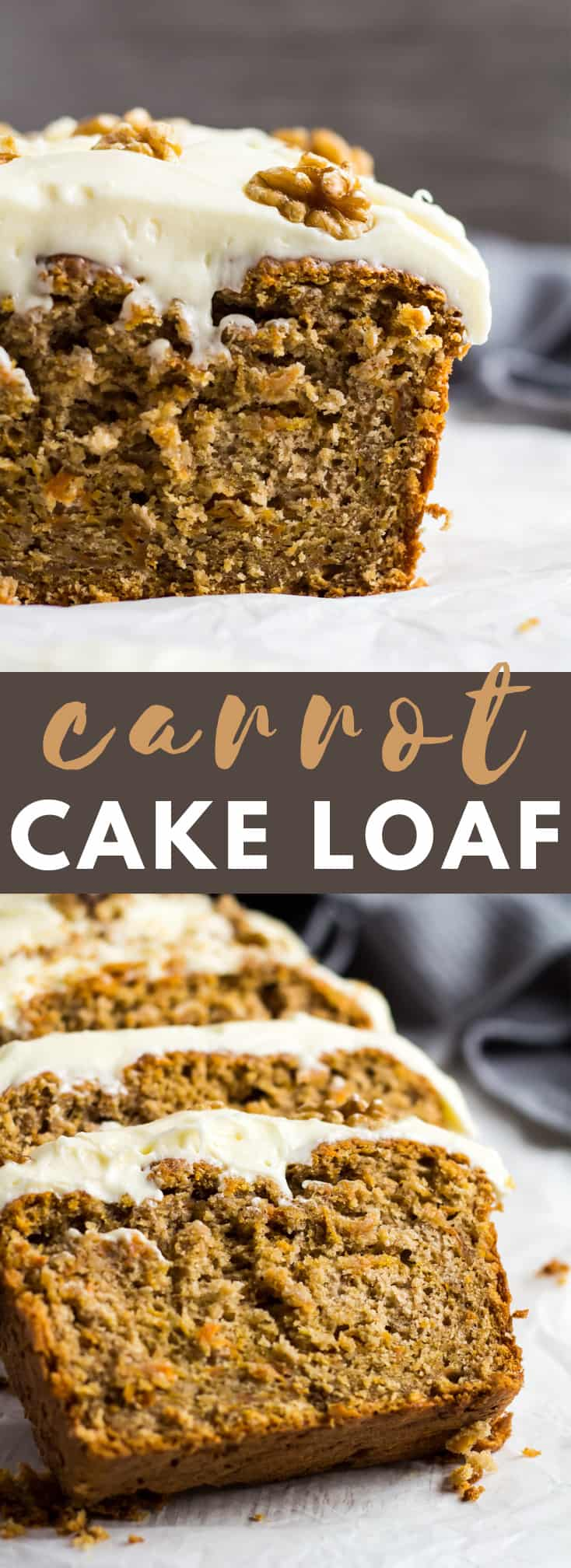 Carrot Cake Loaf - An incredibly moist and delicious carrot cake loaf that is packed full of flavour, loaded with grated carrot, and topped with a thick cream cheese frosting!
