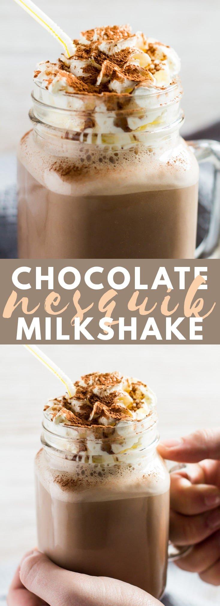 Chocolate Nesquik Milkshake - Deliciously thick and creamy milkshake made from vanilla ice cream and chocolate Nesquik powder. Top with whipped cream for a totally indulgent drink!