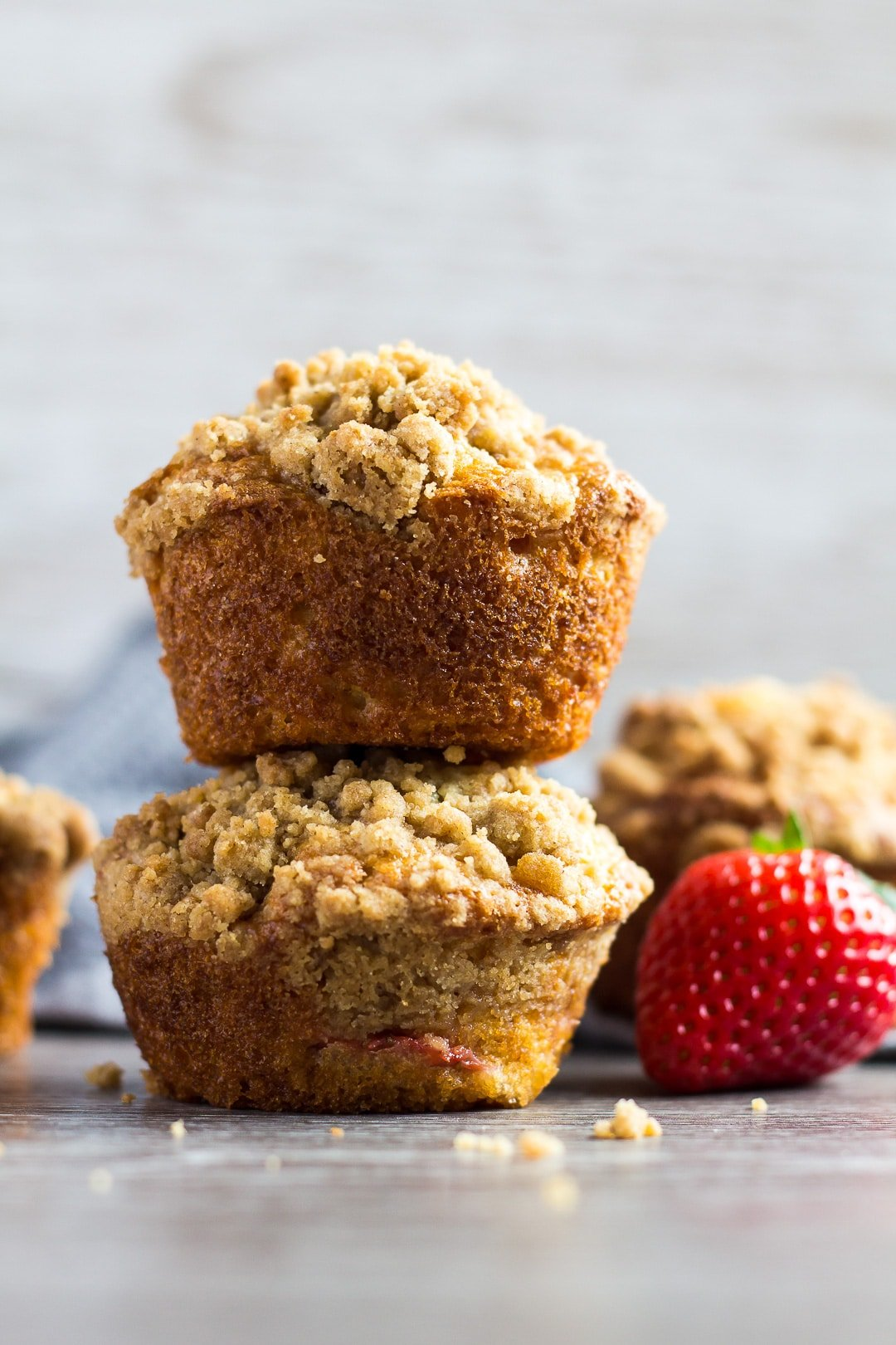 A stack of two Strawberry Crumb Muffins.