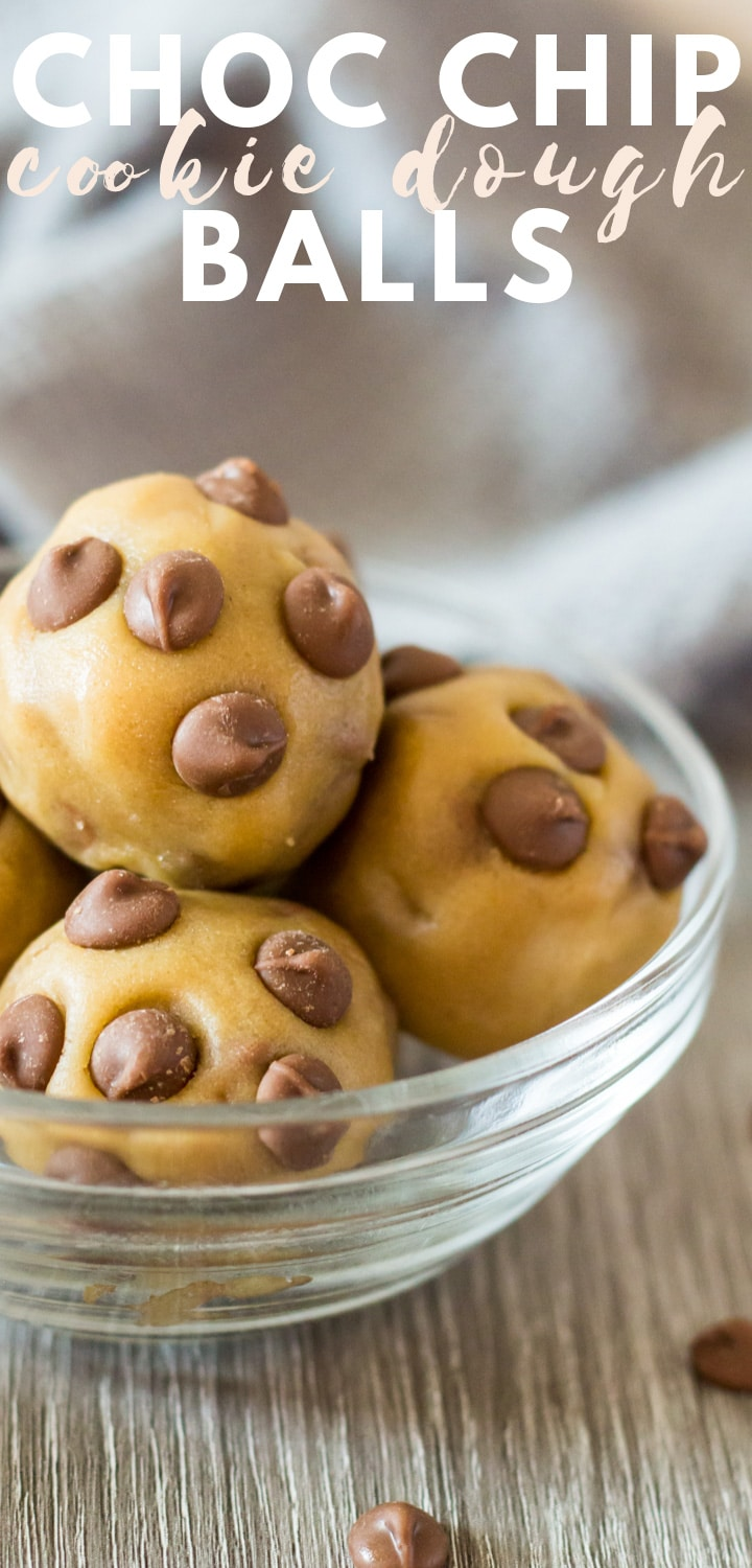 Chocolate Chip Cookie Dough Balls - Deliciously fudgy edible cookie dough balls that are loaded with flavour, made with all brown sugar, no eggs, and stuffed full of chocolate chips!