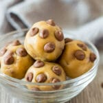 Chocolate Chip Cookie Dough Balls in a small glass bowl.