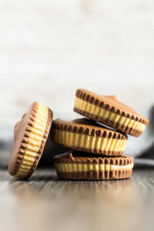A stack of Homemade Peanut Butter Cups.