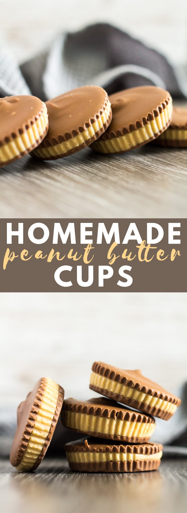 Homemade Peanut Butter Cups - A deliciously creamy and smooth peanut butter layer sandwiched between layers of milk chocolate. The perfect no-bake treat for peanut butter and chocolate lovers! #peanutbutter #peanutbuttercups #chocolate #recipe