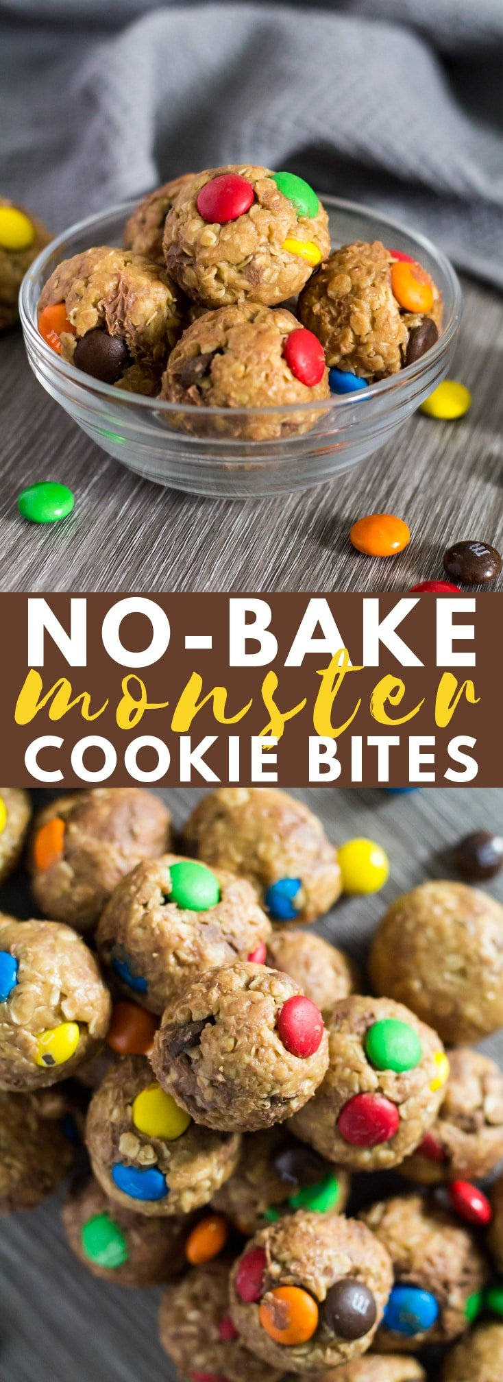 No-Bake Monster Cookie Bites - Deliciously chewy no-bake peanut butter balls that are loaded with oats, chocolate chips, and M&M's!