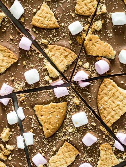 An overhead shot of S'mores Chocolate Bark broken into pieces.