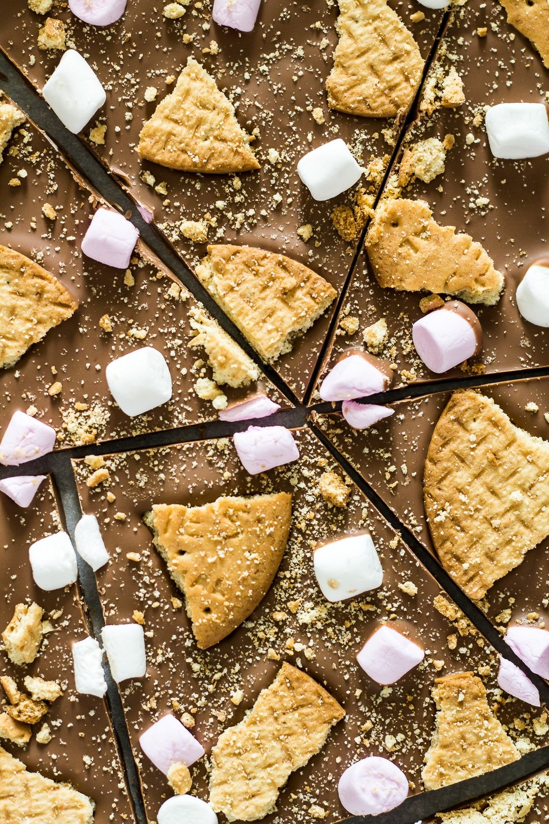 An overhead close-up shot of S'mores Chocolate Bark broken into pieces.