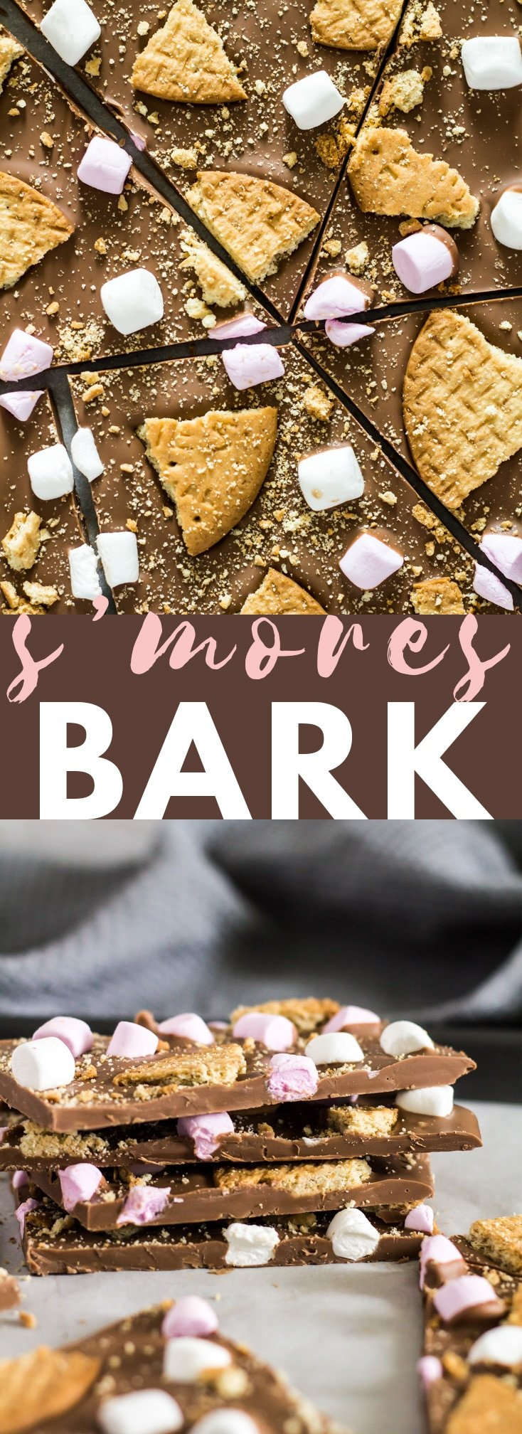 S'mores Chocolate Bark - A deliciously thick and creamy layer of milk chocolate that is generously topped with broken biscuits, and mini marshmallows!