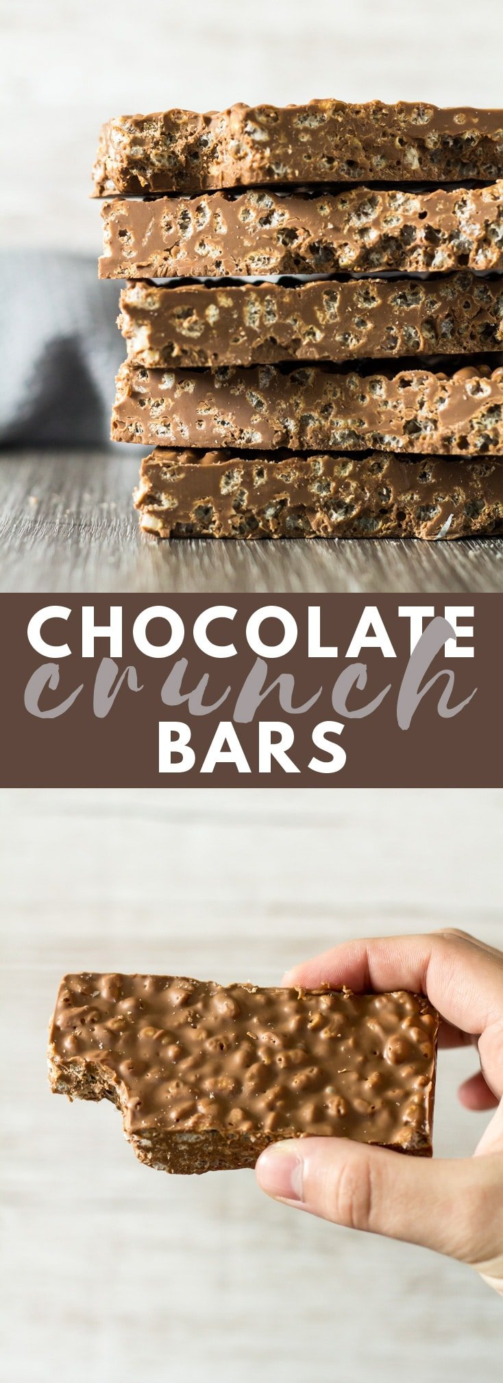 Chocolate Crunch Bars - A deliciously creamy layer of milk chocolate loaded with crispy rice cereal. A 2-ingredient treat you'll want to make time and time again! #chocolate #crunchbars #nobake #recipe